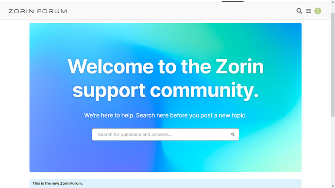 Zorin Forum search screen
