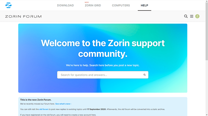 Zorin Forum search screen -smallest font