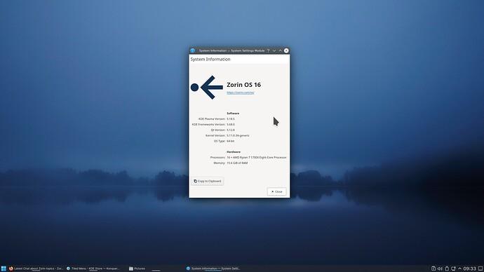Zorin 16 System Info on KDE