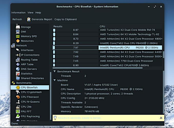 ZORIN OS 16 PRO CPU Benchmark HARDINFO