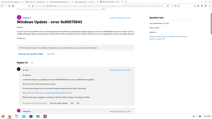 0x80070643 .Net Framework is corrupt