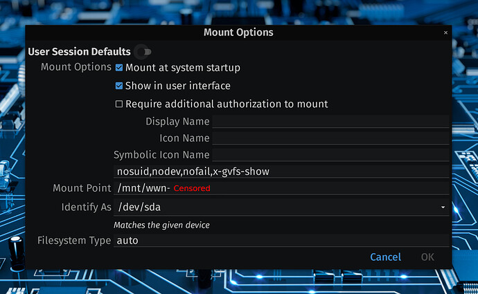 Setting Mount Options In DISKS Utility