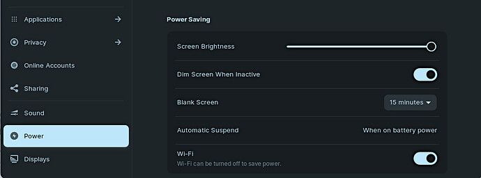 Disable Screen Dimming