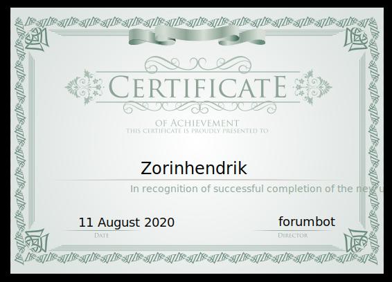 certificate new zorin forum