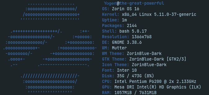 Zorin OS 16 PRO Screenfetch 5.11.37 Kernel