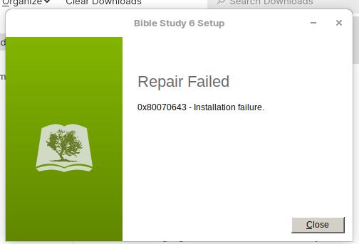 Repair failed